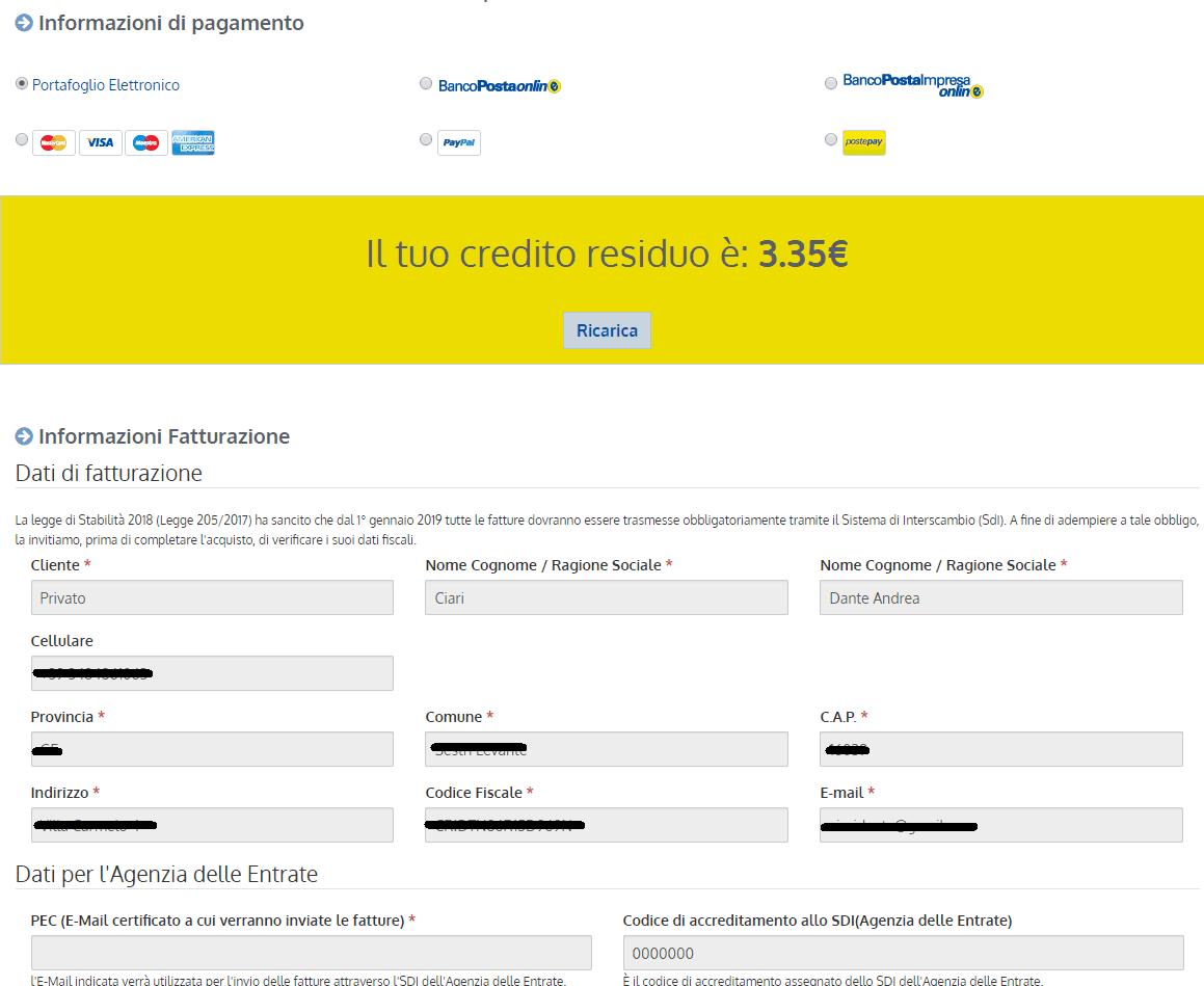 ioinvio - pagamenti