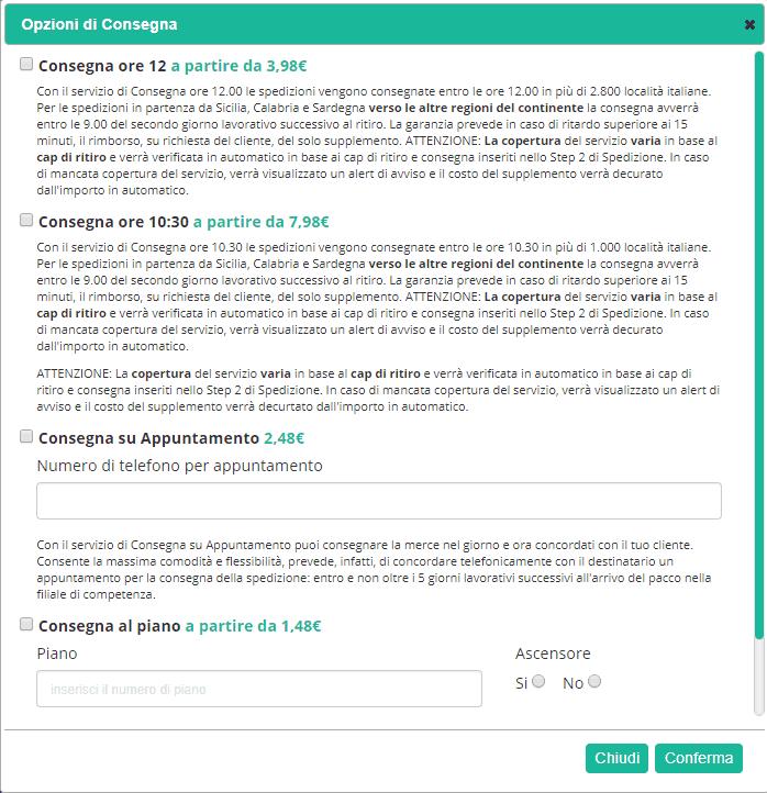 spedireweb - opzioni di consegna