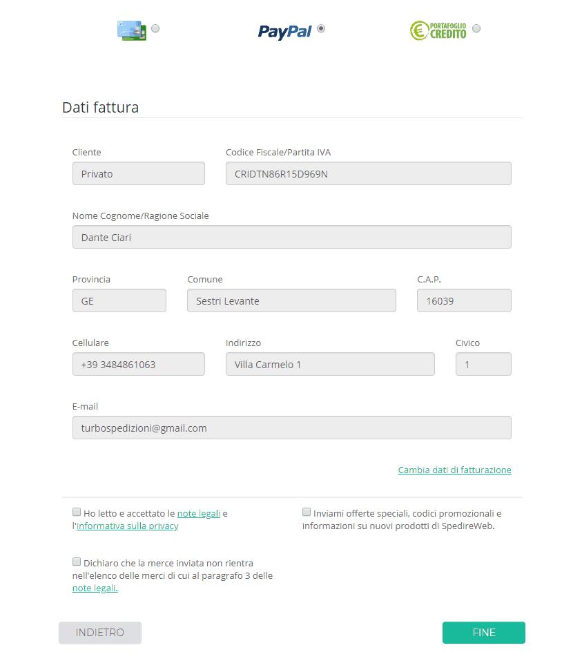 spedireweb - pagamento